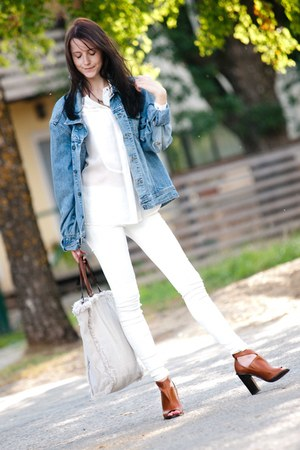 white Mango jeans - light blue Monton jacket - beige Mango bag