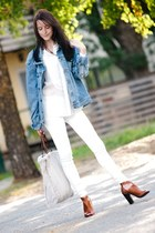 white Mango jeans - light blue Monton jacket - beige Mango bag