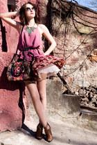 pink Mango shirt - Fiorelli bag - brown reserved heels