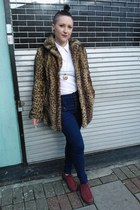 light brown new look coat - brick red Dr Martens shoes - navy new look jeans