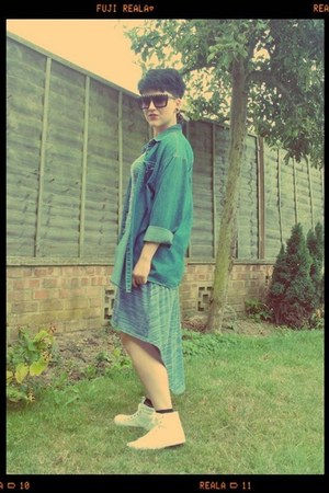 blue denim shirt thrifted vintage shirt - violet knit Primark dress