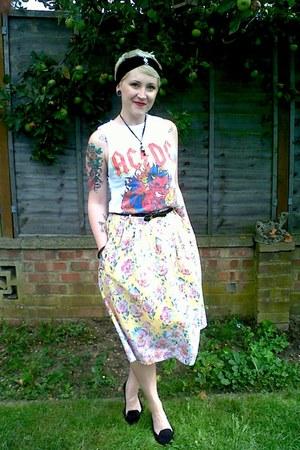 light yellow Primark skirt - red bought online t-shirt - black new look flats
