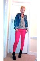 red H&M jeans - black H&M boots - navy vintage jacket