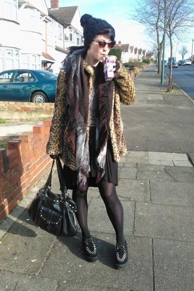 camel new look coat - black Ebay shoes - brown vintage scarf