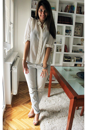 vintage shirt - Mango jeans - Zara heels
