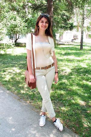 neutral Mango top - cream Mango sweater - bronze Bershka bag - bronze Zara belt