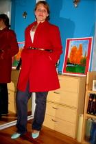 e9272198f7b red coat - blue shoes - blue jeans - brown Forever 21 belt - white kohls