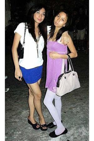 white Zara blouse - blue Pink Manila skirt - yellow Topshop belt - blue Jaeno at