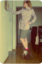 houndstooth H&M skirt - lilac trench New Yorker coat - leopard UNIF wedges