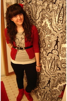 red Forever 21 cardigan - gray Forever 21 shirt - red Ross boots - black vintage