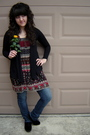 Black-ross-cardigan-red-forever-21-blouse-black-h-m-shoes