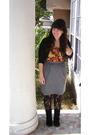 Black-cardigan-orange-urban-outfitters-blouse-gray-goodwill-skirt-black-ta
