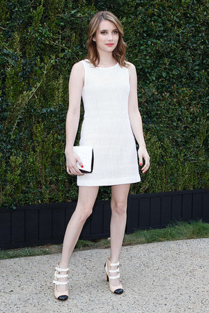 off white Chanel dress - white Chanel purse - nude Chanel pumps