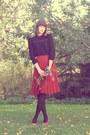 Black-h-m-high-neck-blouse-brick-red-thrifted-skirt-bronze-vagabond-heels