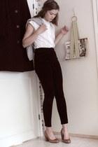 second hand blouse - JLindeberg jumper - second hand pants - vagabond heels