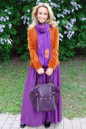 purple YSL bag - bronze Loro Piana blazer - light purple Zara scarf