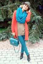 turquoise blue Zara bag - carrot orange Zara coat - turquoise blue Zara jeans