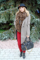 light brown Louis Vuitton scarf - heather gray Zara coat - ruby red Zara jeans
