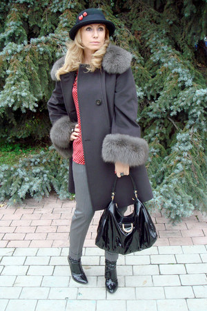 gray Max Mara coat - black River Island hat - black patent leather Gucci bag