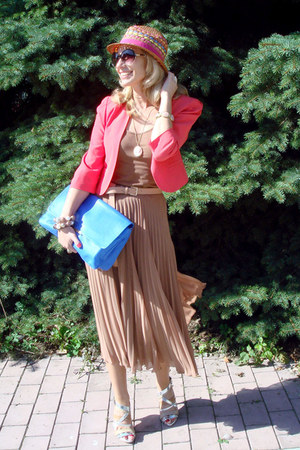 nude Zara skirt - beige River Island hat - carrot orange Topshop blazer