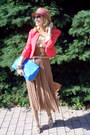 Beige-river-island-hat-carrot-orange-topshop-blazer-blue-zara-bag