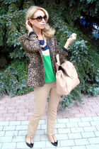 light brown Zara blazer - nude Zara bag - tan Accessorize accessories