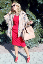 red Oasis dress - neutral Zara shoes - neutral Zara blazer - nude Zara bag