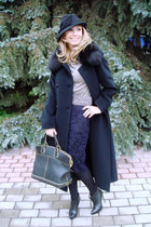 navy Zara skirt - black Marella coat - black Zara hat - black Louis Vuitton bag