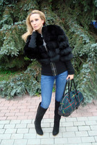 blue Zara jeans - black Dolce & Gabanna coat - green jean paul gaultier bag