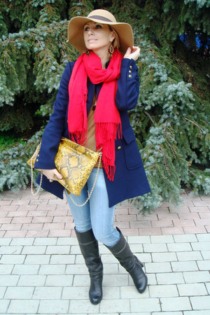 navy Zara coat - light blue Zara jeans - beige Accessorize hat - red MALO scarf