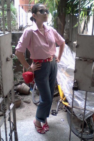 red vintage bag - brown sunglasses - red vintage belt - pink pinstripe Eddie Bau