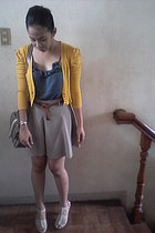 heather gray Charles & Keith bag - skirt-like shorts - mustard cardigan