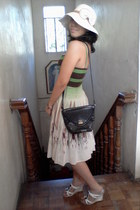 BCBG dress - bow hat - black bag - bracelet - white printed Ray Ban glasses - wh