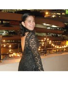 black lace dress - black sequined purse - white pearl earrings