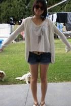 ivory crochet sleeve Forever 21 t-shirt - navy denim Forever 21 shorts