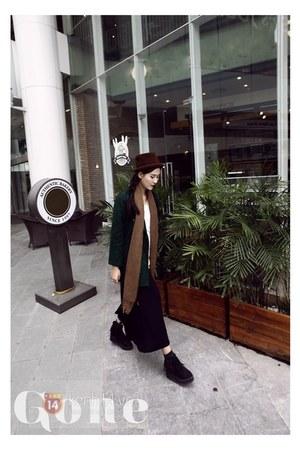 black shoes - dark green coat - dark brown hat