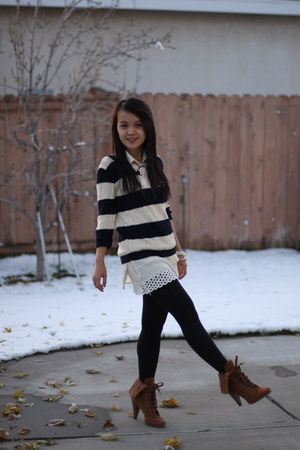 ivory GD blouse - brown Steve Madden boots - navy UO jumper