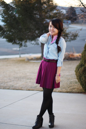bubble gum Loft blouse - hot pink Forever 21 skirt - black Dolce Vita wedges