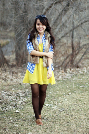 camel Loft vest - yellow Urban Outfitters dress - blue H&M shirt