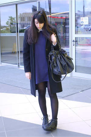 H&M boots - sweater dress H&M dress - Pull and Bear shirt - Bag bag