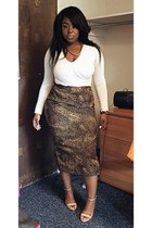 brown thrifted skirt