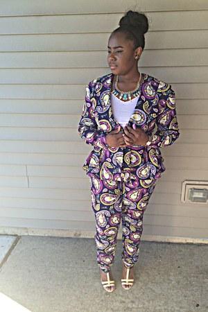 purple paisley DIY suit