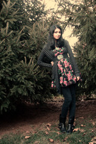 black Forever21 cardigan - black Nine West boots - pink Forever21 dress