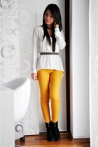 orange Zara pants - black Zara boots - ivory Bershka shirt - black H&M belt