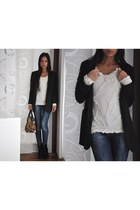 black Zara blazer - black Zara boots - navy Zara jeans