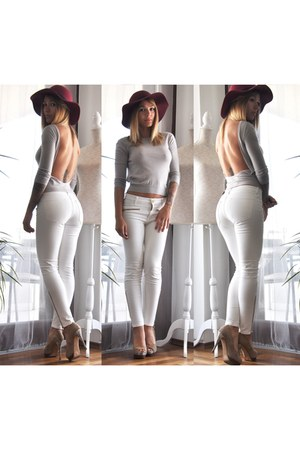 brick red Zara hat - silver Gucci blouse - white Zara pants - tan Zara heels