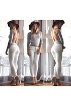 brick red Zara hat - silver Gucci blouse - white Zara pants - tan Zara heels