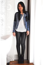 black Zara boots - navy Zara jacket - dark gray Zara leggings - white Zara shirt