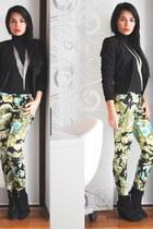 black Zara boots - black H&M blazer - chartreuse Zara pants