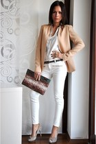 peach Zara blazer - white Zara shirt - dark brown Zara bag - beige Zara heels